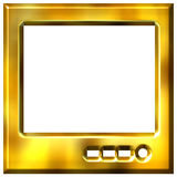 3D Golden TV Stock Photography