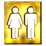 3D Golden Unisex Sign stock illustration