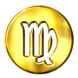 3D Golden Virgo Zodiac Sign Royalty Free Stock Images