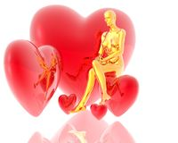 3d golden virtual girl with red hearts background Royalty Free Stock Photo