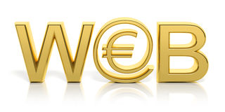 3D golden web text and money online Royalty Free Stock Image