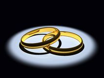3D Golden Wedding Rings Royalty Free Stock Images