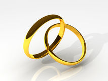 3D Golden Wedding Rings Royalty Free Stock Photos