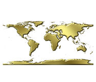 3D Golden World Map Royalty Free Stock Photos