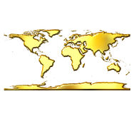 3D Golden World Map Stock Photography