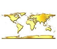 3D Golden World Map Stock Photography