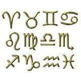 3D Golden Zodiac Signs Stock Image