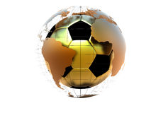 3d golen soccer ball with continents Royalty Free Stock Photos