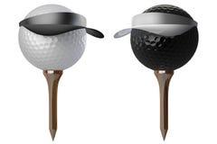 3d golf balls wearing caps Stock Photo