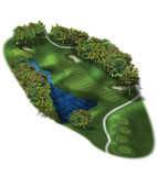 3D Golf Course Hole Layouts. Golf resort par four hole detail Royalty Free Stock Photo