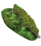 3D Golf Course Hole Layouts. Short golf hole with mulch along the left side Royalty Free Stock Photography