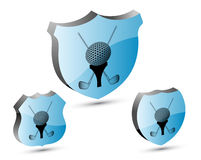 3D golf shield set Stock Photography