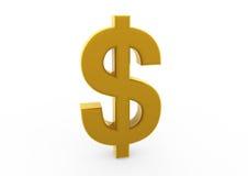 3d goud van het dollarsymbool Royalty-vrije Stock Afbeeldingen