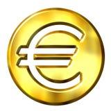 3D Gouden Euro Symbool Stock Foto's