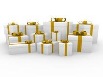 3d gouden gele witte giftdoos Stock Foto's