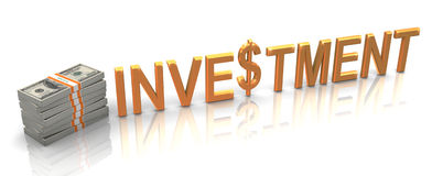 3d gouden investering royalty-vrije illustratie