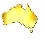 3d Gouden Kaart van Australië Royalty-vrije Stock Afbeeldingen