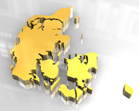 3d gouden kaart van Denemarken Stock Foto