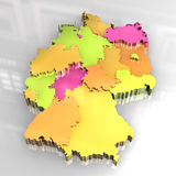 3d gouden kaart van Duitsland Stock Afbeelding