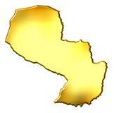 3d Gouden Kaart van Paraguay Stock Fotografie