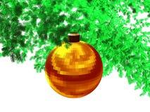 3D-gouden rode gefacetteerde bal (w) Stock Afbeelding