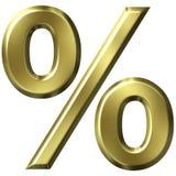 3D Gouden Symbool van het Percentage Royalty-vrije Stock Fotografie