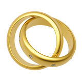 3d gouden trouwring Stock Afbeelding