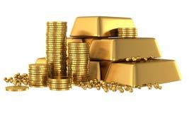 3d goudstaven en muntstukken vector illustratie