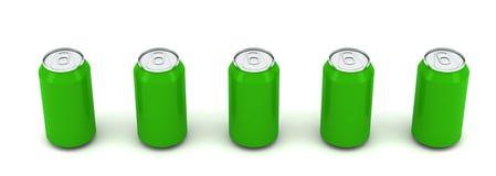 3d grön illustration för aluminum cans fem royaltyfri illustrationer