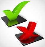 3d grüne und rote Checkmarkierungssymbole Stockfotografie