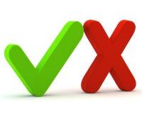 3d grünen ja Checkmarkierung und Rotnr. Lizenzfreies Stockbild