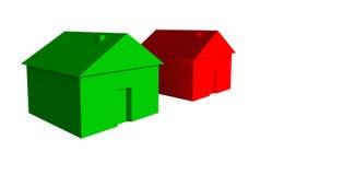 3D grünes und rotes Haus stock abbildung