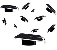 3d grad hats in various sizes. Flying in the air Stock Image
