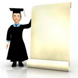 3D graduate with banner Royalty Free Stock Images