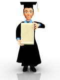 3D graduate with banner Royalty Free Stock Photos