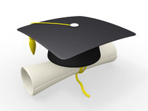 3d graduation cap and diploma Royalty Free Stock Images