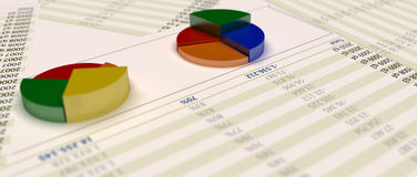 3d grafiekpastei op papier met financiële inlichtingen royalty-vrije illustratie