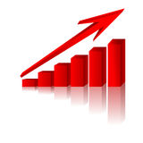 3d graph. Showing rise in profits or earnings / vector illustration Stock Photos