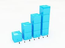 3d graph. 3d generated plastic bar graph Royalty Free Stock Photography
