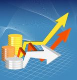 3d graph. An illustration of colorful 3d graph includes coins Stock Photography