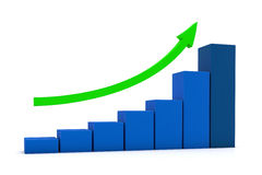 3D graph. Blue 3D graph with green arrow on white background Stock Photo