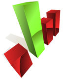 3D graph. With green and red bars Stock Photography