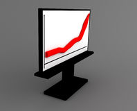 3D Graph. A red 3D graph on a black board Stock Photo