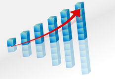 3d graph with arrow Stock Images