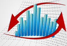 3d graph with arrow. 3d red graph with a blue arrow representing succes Royalty Free Stock Photo