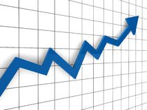 3d graph arrow blue Royalty Free Stock Images