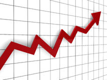 3d graph arrow red. Success finance diagram Stock Photography