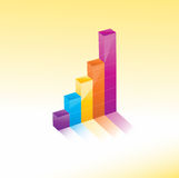 3D Graph chart. A 3D graph chart showing growth and success Royalty Free Stock Photography