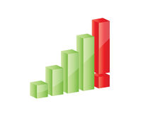 3D graph growing up with exclamation mark. Illustration of 3D graph growing up with exclamation mark Stock Photos