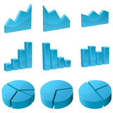 3D graph icons Royalty Free Stock Photos